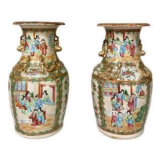 19th Century Rose Medallion Porcelain Vases - a Pair For Sale