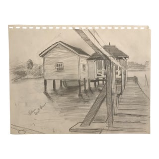 1952 Mid-Century Boathouse Scene Drawing For Sale