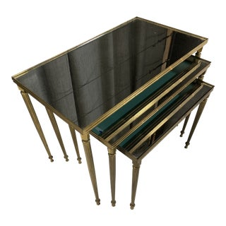 Mid Century Vintage Mirrored French Brass Nesting Tables - Set of 3 For Sale