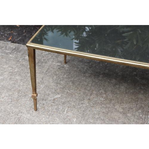 Brass Maison Janson Style Brass Coffee Table With Smoked Glass For Sale - Image 8 of 9