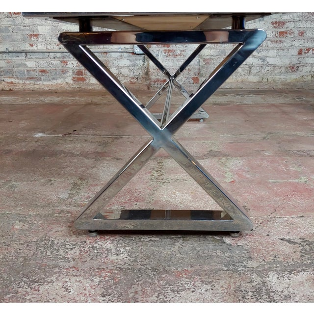 Beautiful Designer Chrome Coffee Table With Lacquered Wooden Top For Sale - Image 9 of 10
