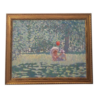 20th Century Surrealist Pointillist Landscape Painting in Gold Frame For Sale