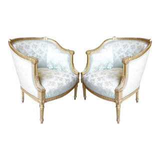 Louis XVI Style Giltwood Bergères - a Pair For Sale