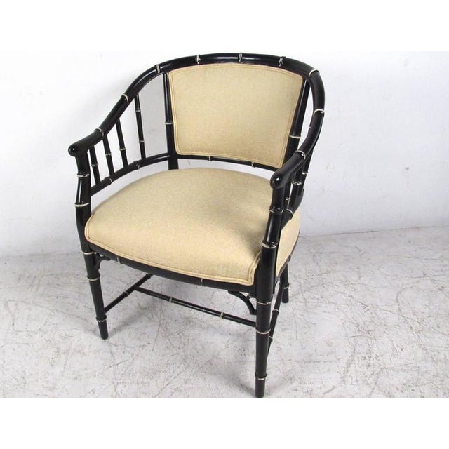 Asian Mid-Century Modern Bamboo Style Dining Chairs- Set of 4 For Sale - Image 3 of 10