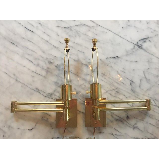 Classic Brass Hansen Wall Sconces - a Pair For Sale - Image 10 of 10