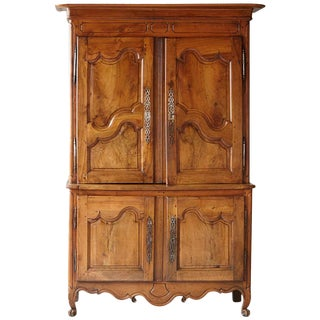 French 18th Century Louis XV Style Fruitwood Cabinet a Deux Corps For Sale