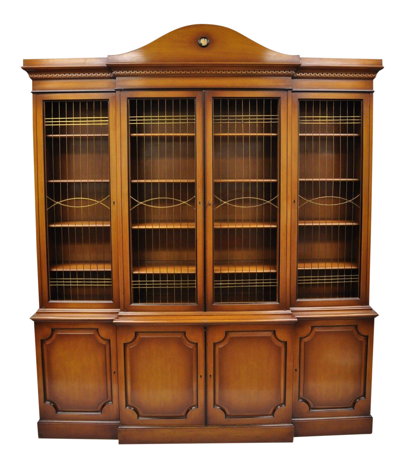 Maslow Freen French Empire Style Breakfront Bookcase China Cabinet w Brass Grill