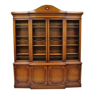 Maslow Freen French Empire Style Breakfront Bookcase China Cabinet W Brass Grill For Sale