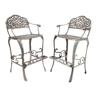 "Pair of Dakota Cast Aluminum Patio Bar Stool Chairs Pool Garden Furniture 30"" For Sale"