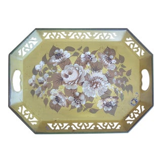 Vintage Chartreuse Floral Tole Tray For Sale