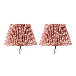 Fermoie Gathered Cotton Lampshade in Red Rabanna, 18 Inch, Set of 2 For Sale