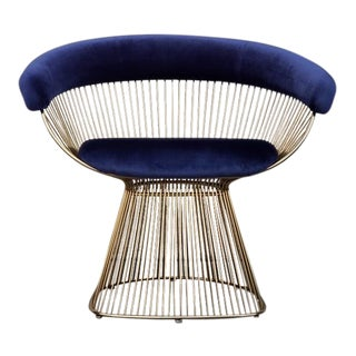 Mid-Century Modern Deep Blue Brass Wire Lounge Chair For Sale