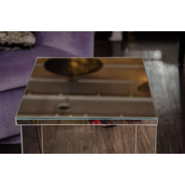 2010s Custom Mirrored End Table For Sale - Image 5 of 6