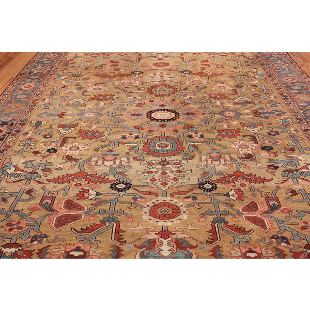 Country Antique Heriz Persian Golden Background Rug - 9′2″ × 10′5″ For Sale - Image 3 of 11