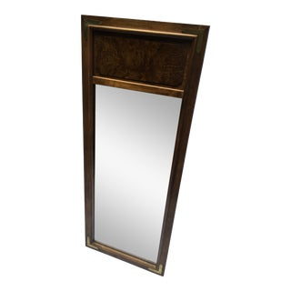 Campaign Style Burled Wood Header Detail Rectangle Mirror For Sale