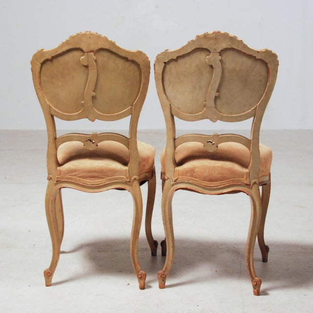 Fabric French Gilt & Painted Boudoir Chairs - A Pair For Sale - Image 7 of 11