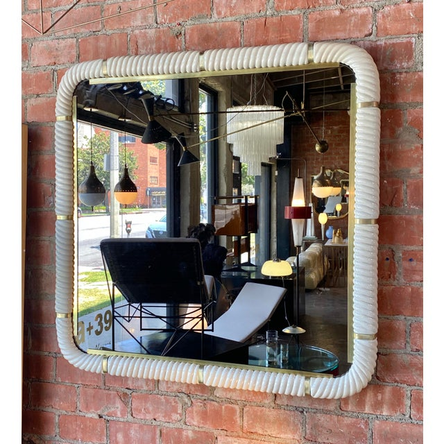 Modern Tommaso Barbi Porcelain Wall Mirror With Brass For Sale - Image 3 of 11