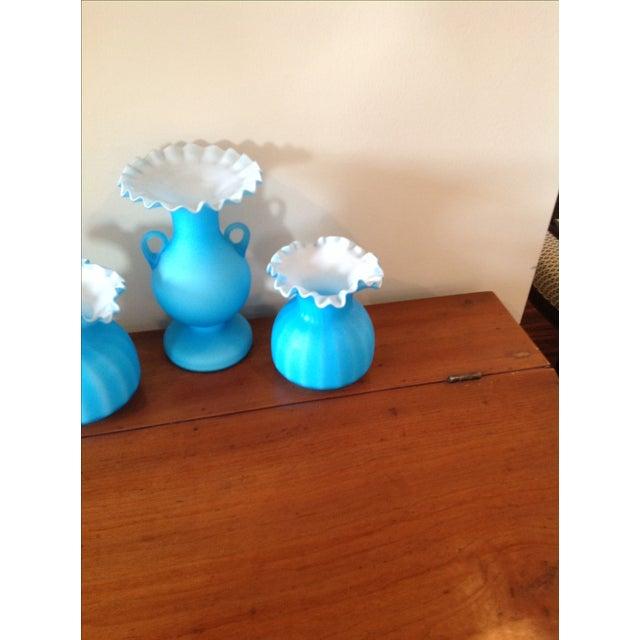 Blue Matte Ruffled-Edged Glass Vases - S/3 - Image 5 of 6