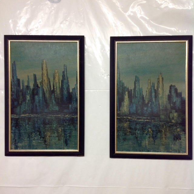 Offered is a Mid Century era diptych MAIO print (pair), blue harbor by Turner Wall Accessories.