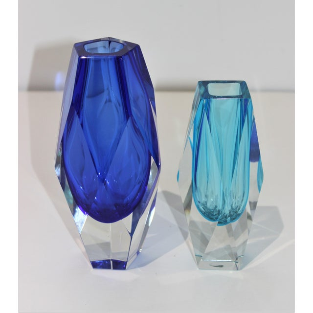 Vintage Murano Artistic Cristal Vases in Turquoise and Cobalt Blue - a Set of 2 For Sale - Image 10 of 10