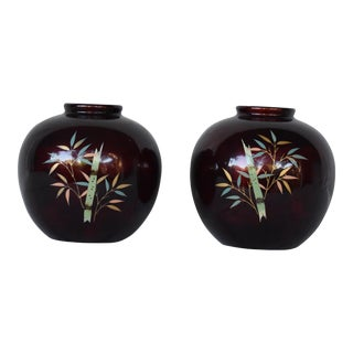 Royal Maruni Porcelain Bamboo Vases - A Pair For Sale