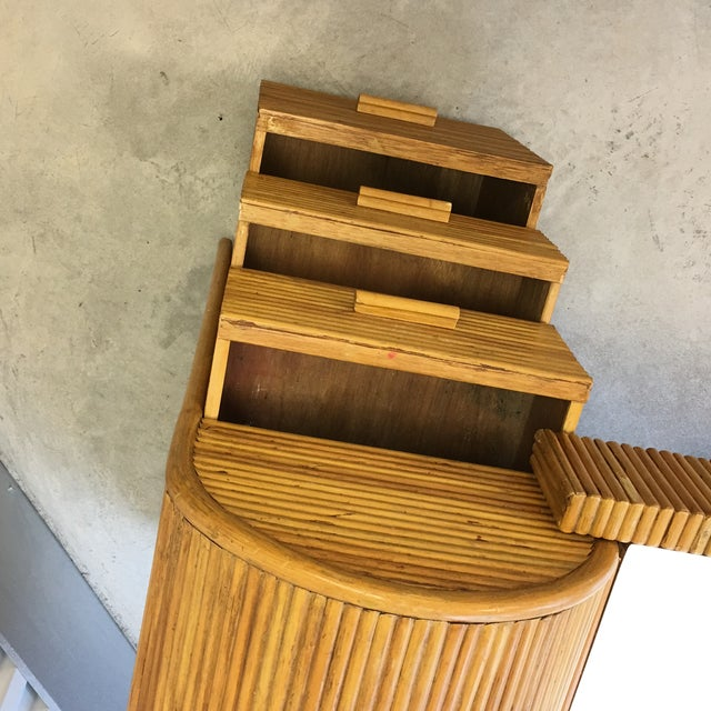 1980s Monumental Split Reed/Bamboo Writing Table or Desk For Sale - Image 11 of 13