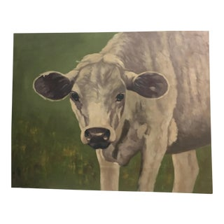 Wood Painting of Cow & Greens For Sale