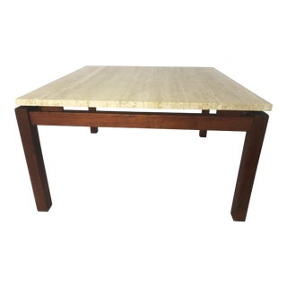 Travertine and Teak CoffeeTable / Side Table - Made in Italy For Sale