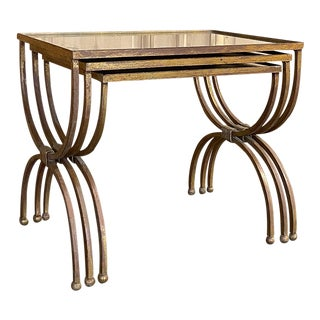 Mid-Century Set of Mirrored Brass Nesting Tables For Sale