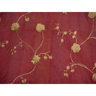 Kravet Couture Ogee Embroidery Red Floral Semi Sheer Upholstery Fabric- 16 Yards For Sale