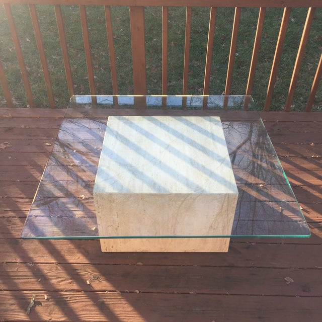 Modern Cube Travertine & Glass Coffee Table - Image 7 of 11