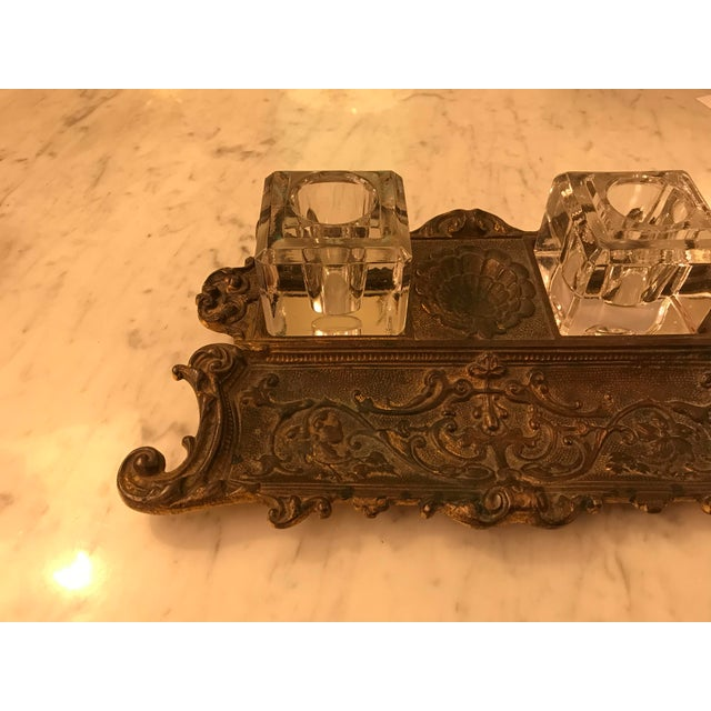 Antique Gold Gilt, Cast Iron Double Inkwell, With Pen Tray For Sale In Miami - Image 6 of 7