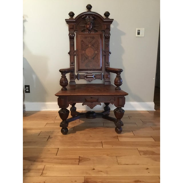 English Traditional Renaissance Revival Mahogany Throne Chair For Sale - Image 3 of 9
