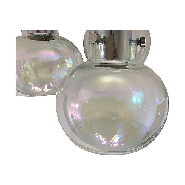 Stunning blown glass ceiling mount light imported from Italy by Thomas Industries in the 1950s. Modern design features...