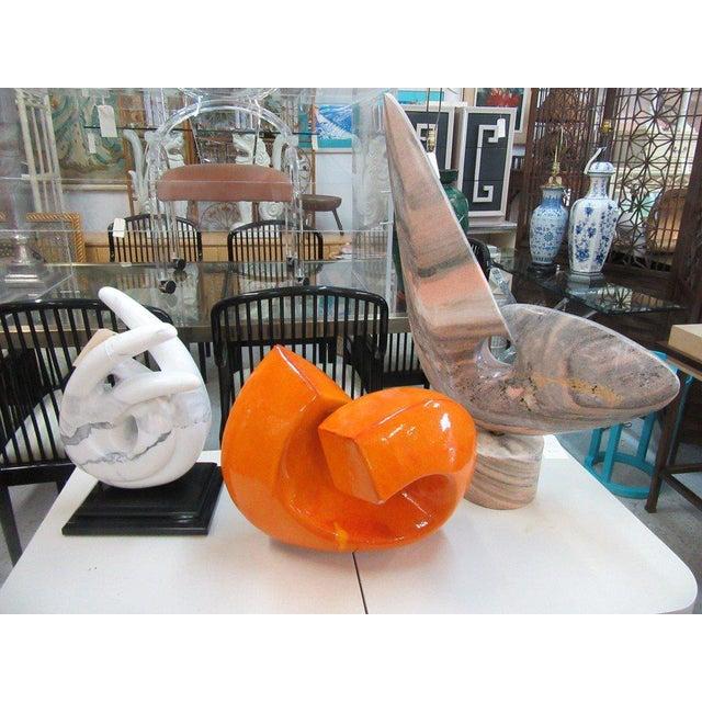 Modern Orange Stone Sculpture - Image 9 of 9