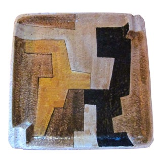 Vintage Mid Century Raymor Abstract Geometric Pottery Ashtray For Sale