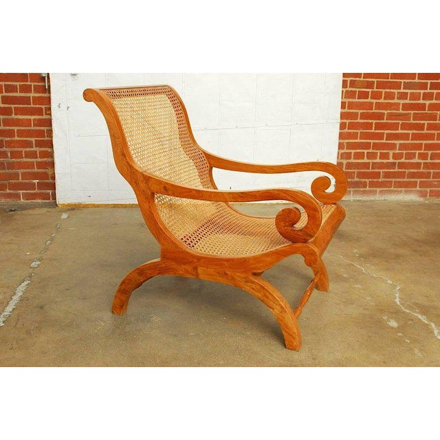 Anglo-Indian Teak and Cane Plantation Chair For Sale In San Francisco - Image 6 of 13