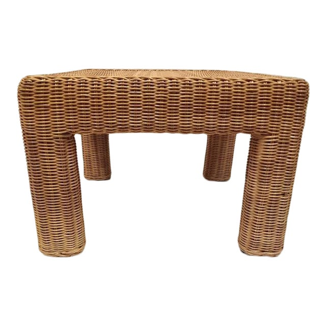Vintage Wicker Footstool Rattan Ottoman For Sale
