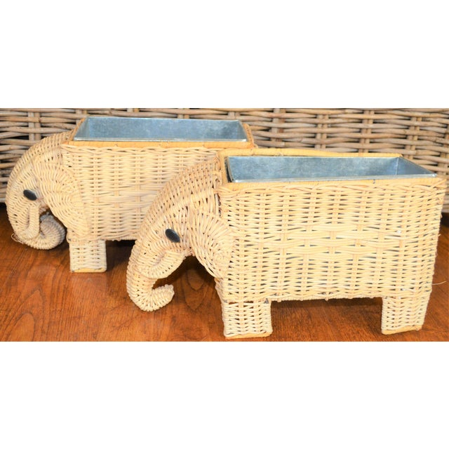 Boho Chic Wicker Elephant Basket Planters - a Pair For Sale - Image 11 of 12