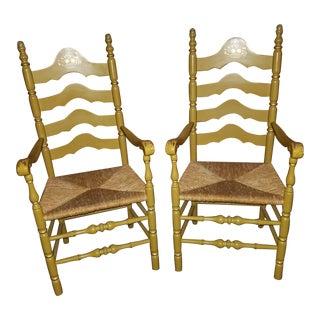 Vintage Nichols & Stone Cattail Rush Stenciled Armchairs - A Pair