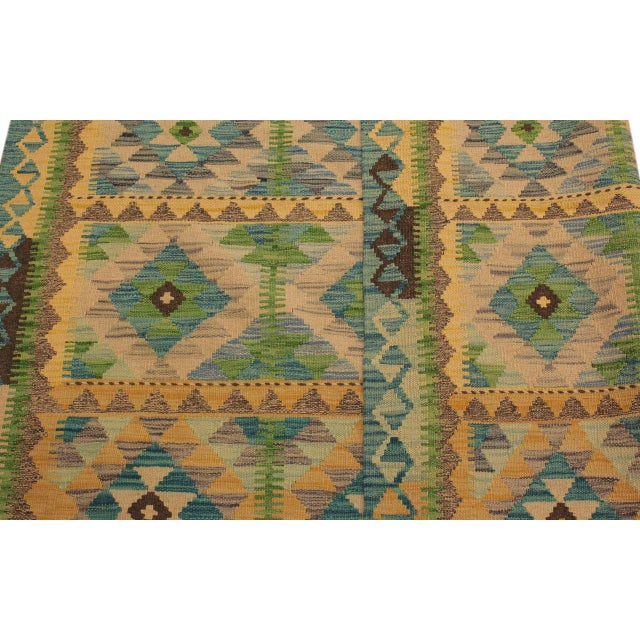 Textile Darleen Green/Teal Hand-Woven Kilim Wool Rug -5'2 X 6'7 For Sale - Image 7 of 8