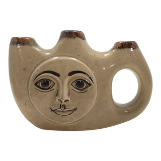 Tonala Mexican Folk Art Pottery Triple Vase or Candleholder With Smiling Face For Sale
