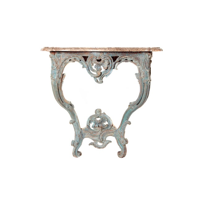 Period Painted Louis XV Console With Shaped Marble Top For Sale - Image 13 of 13