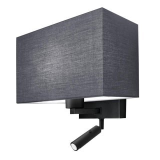 Combination Wall Light With Led Reading Light in Satin Black For Sale