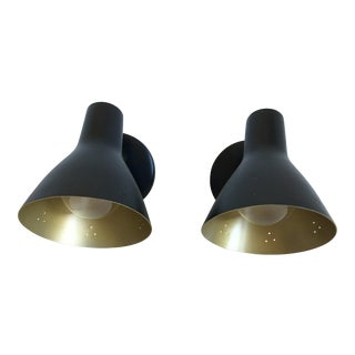 Mid-Century Cone Wall Lights - a Pair For Sale