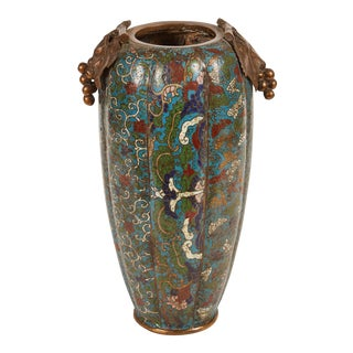 19th Century Chinese Cloisonné Vase With Grape Handles For Sale
