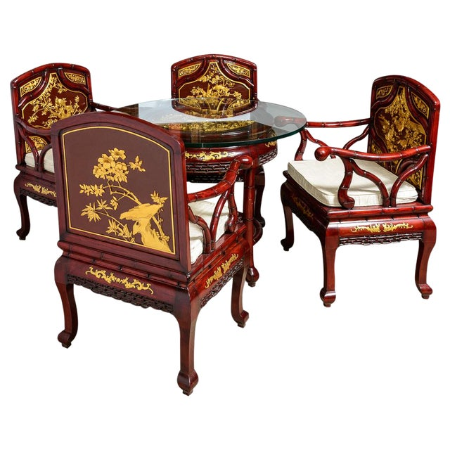 Vintage Chinese Rosewood Table and Four Chairs - Set of 5 For Sale