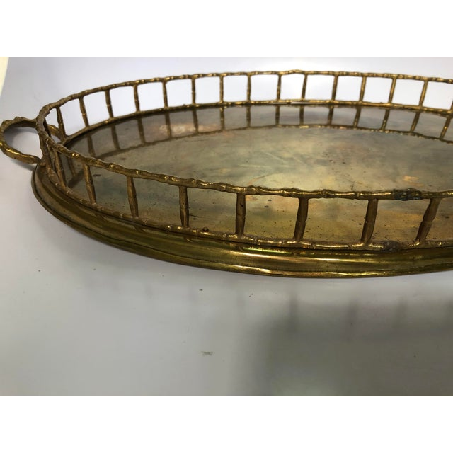 Vintage faux bamboo brass tray. No makers mark. Light patina & oxidation.