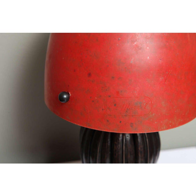 1930s Louis Katona French Wrought Iron and Glass Table Lamp For Sale - Image 5 of 8