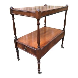 Mid-20th Century Traditional Wooden Two Tier Table on Wheels